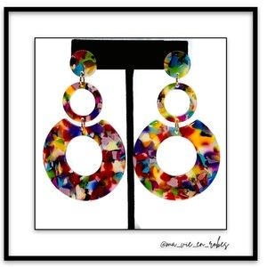 NEW! 2nd Pr Long Bright Colorful Laminate Earrings